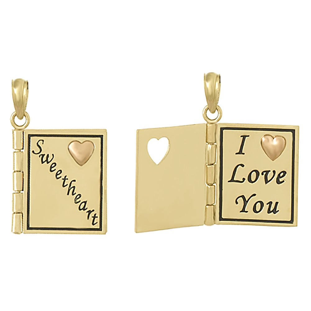 14k Yellow Gold Book Charm Pendant, 3D Sweetheart Book with I Love You & Heart Inside, Moveable