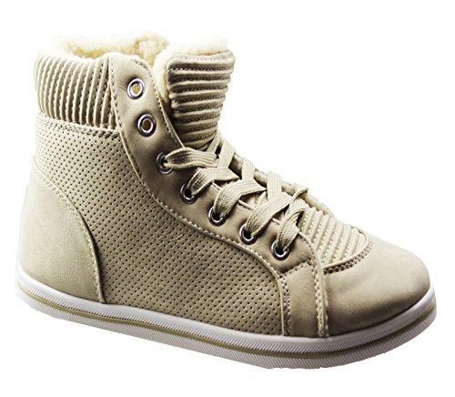 KOLLACHE Damen Fell Gefütterte Boots Damen Winter Warm Lace Up Trainer  flach Komfort Knöchel Schuhe Beige