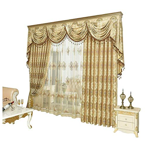 (Queen's House Luxury Gold Curtain for Living Room Drapes Valance Custom-M)