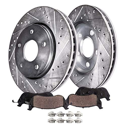 Detroit Axle - Drilled & Slotted FRONT Brake Rotors Set & Brake Pads w/Clips Hardware Kit Performance GRADE for V6 Chrysler Sebring, Dodge Stratus, Eclipse