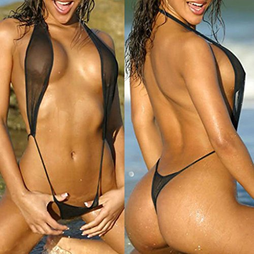 5b3d329b100 Howstar Women s Sexy Deep V Neck One Piece Swimsuit Backless Halter High  Cut Swimwear Lingerie for