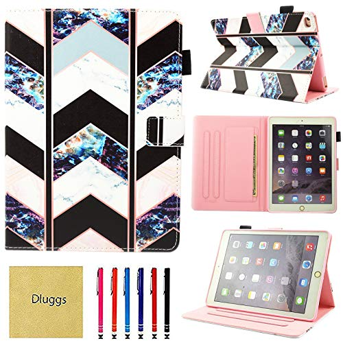 iPad Air 2 Case, iPad Air Case, iPad 9.7 2017/2018 Case, Dluggs PU Leather Folio Smart Cover with Auto Sleep/Wake Function for Apple 9.7 Inch Tablet iPad 6th / 5th Gen, iPad Air 1/2, Wave Marble