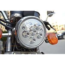 "Round White 30W 6-LED Motorcycle Universal 18-19cm 7"" Headlight Scooter High Low beam light Bulb Lamp for Honda Yamaha Suzuki"