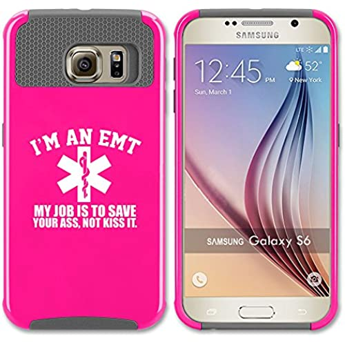 Samsung Galaxy S7 Shockproof Impact Hard Soft Case Cover EMT My Job Is To Save You (Hot Pink-Gray) Sales