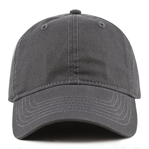 THE HAT DEPOT 100% Cotton Canvas 6-Panel Low-Profile Adjustable Dad Baseball Cap (Hat Charcoal)