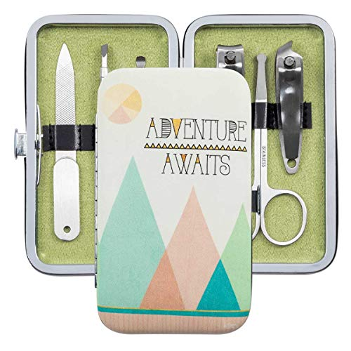 Brownlow Gifts Simple Inspirations 6-Piece Stainless Steel Manicure Set with Case, Adventure Awaits