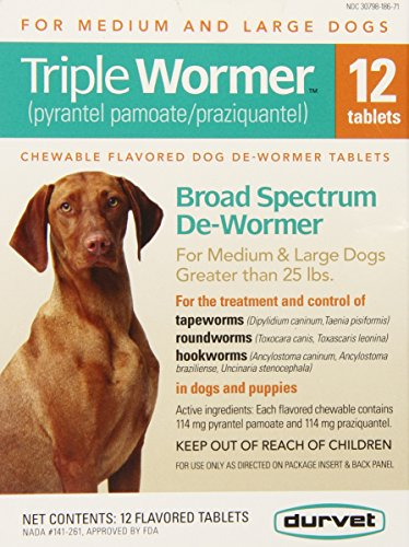 Durvet 12-Pack Triple Wormer Tablets for Medium and Large - Heartworm Medicine Prevention