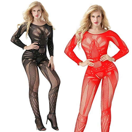 LOVELYBOBO 2 Pack Womens Fishnet Bodystockings Striped Lingerie Long Sleeve Bodysuits Tights Suspenders Plus Size (Black+Red)]()