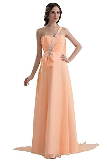GEORGE BRIDE Unique Design Chiffon Beaded Prom Dress, Orange, 34