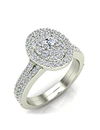 0.94 ct tw Cluster Diamond Wedding Ring Bridal Set 18K Gold (G,SI)