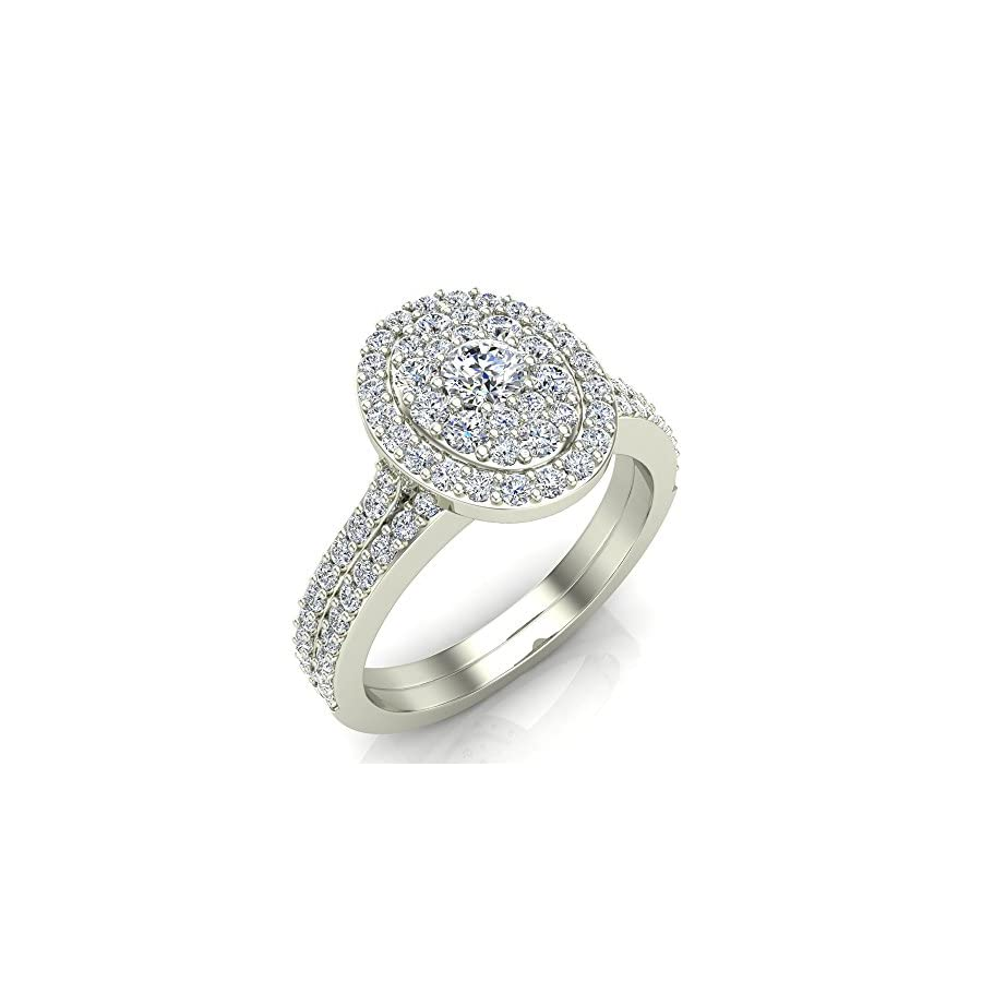 0.94 ct tw Cluster Diamond Wedding Ring Bridal Set 14K Gold (I,I1)
