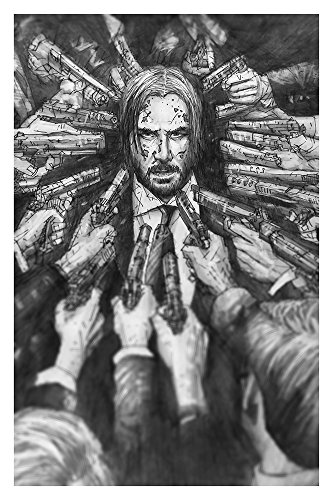 I Know Gun Fu Giclee Print Of Keanu Reeves From A Pencil Drawing From John Wick