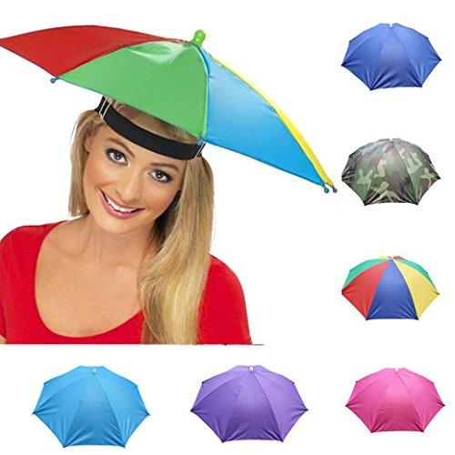 Nacome Outdoor Umbrella Hat,Novelty Foldable Sun Day Rainy Day Hands Free Hat Cap (Hot Pink) ()