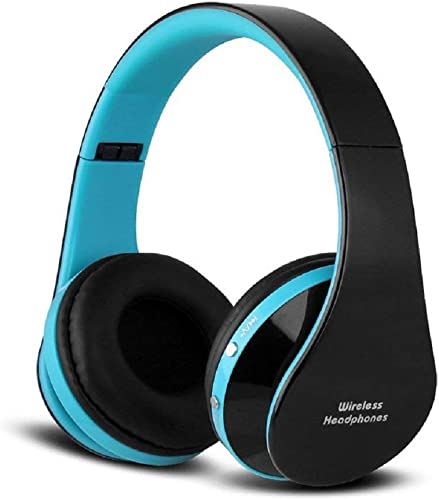 Bluetooth Foldable Headphones, Wireless Wired Over-Ear Headset Rechargeable Earphones with Built-in Mic 3.5mm Audio Jack MIC Black Blue