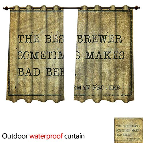 - cobeDecor Man Cave Outdoor Balcony Privacy Curtain Ancient German Proverb W120 x L72(305cm x 183cm)