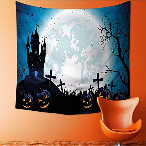 L-QN Decorative Wall tapestry Spooky with Halloween Icons Harvest Festival in Dark Blue Decor Bedding70W x 70L Inch -