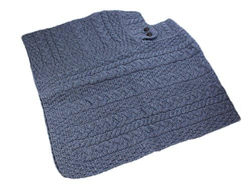 Fisherman Knit Poncho 100% Merino Wool Denim Blue by Carraig Donn