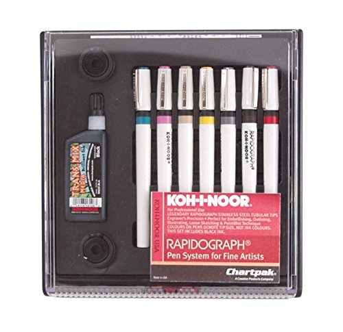 Koh-I-Noor 3165SP7P KIN3165-SP-7 KOH I Nor Radiograph Technical 7Pen Assorted Nibs Multicolor (Koh I Noor Rapidograph Pen Set)