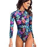 Women Swimsuit Halter Neck Floral Print Long Sleeve Surf Beach Swimwear Beachwear (XL, Multicolor)