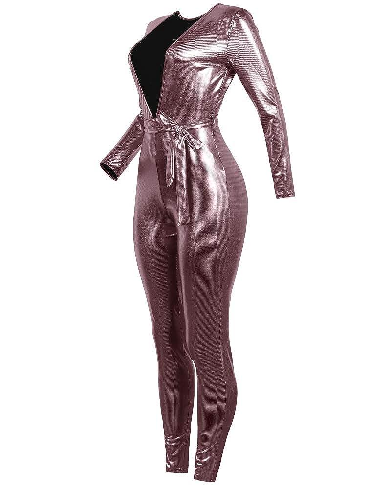 Tuta Elegante V Profonda Paillettes vestibilit/à Slim Pantaloni Lungo Jumpsuit Cerimonia da Donna
