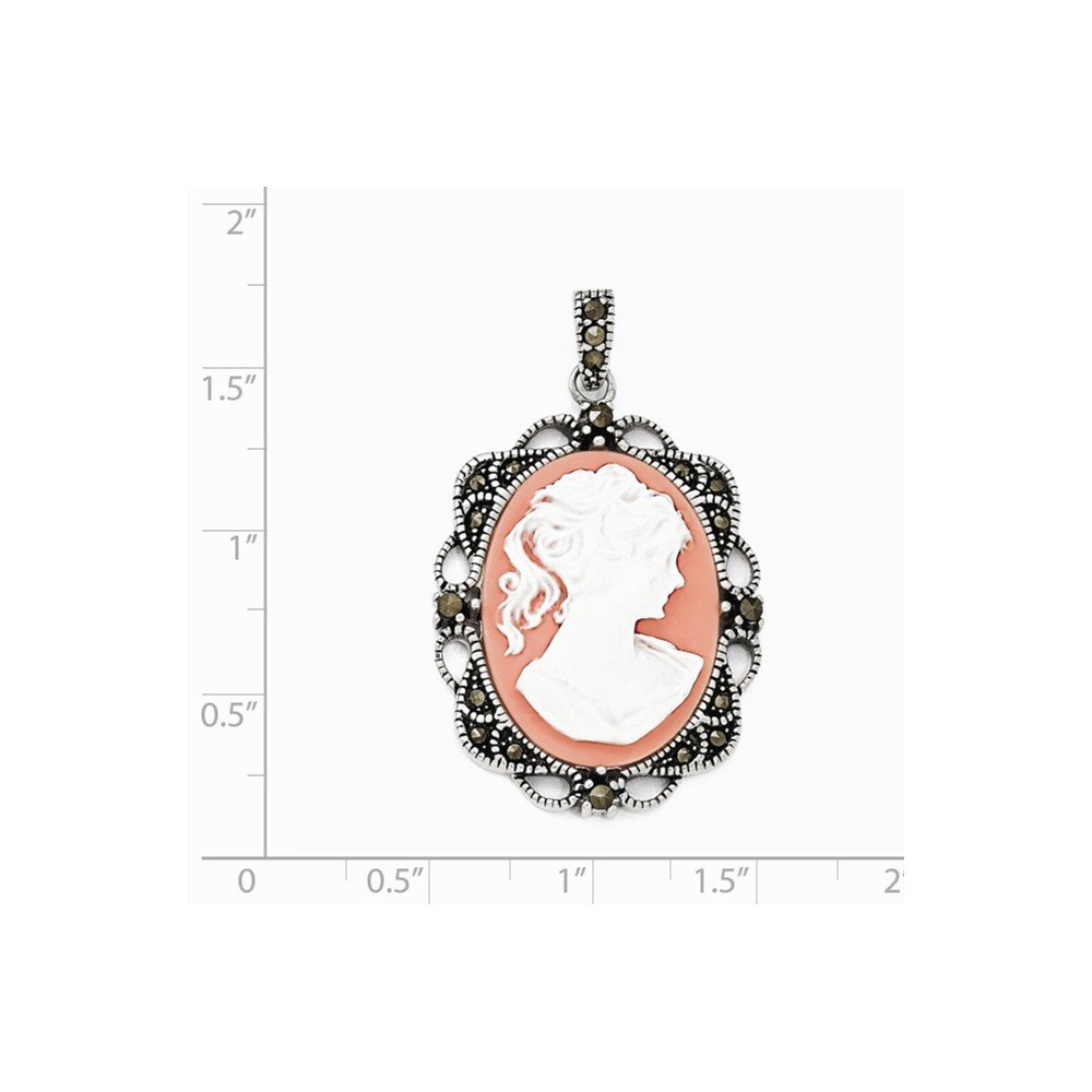 Sterling Silver Woman Marcasite Plastic Cameo Pendant Length 42mm Fits Up To 4mm by Nina's Jewelry Box (Image #2)