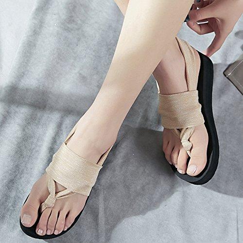 da europeo spiaggia stile ladies scarpe semplice clip sandali scarpe Bohemia moda estate a antislittamento FLYRCX 7Fgqwxw