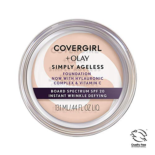 COVERGIRL & Olay Simply Ageless Instant Wrinkle Defying Foundation Ivory Pot, Foundation Plus Titanium Dioxide Sunscreen, 0.44 Fl Oz (packaging may vary)