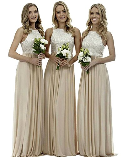 Women's A Line Long Top Lace Chiffon Bridesmaid Dress Evening Gown for Wedding Party Champagne Size 14 ()
