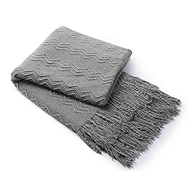 Bourina Knitted Textured Solid Soft Throw Couch Cover Blanket, 50  x 60 , Dark Grey