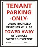 Hy-Ko Products 701 Tenant Parking Only Heavy Duty Plastic Sign 15' x 19.25' White/Black/Red, 1 Piece