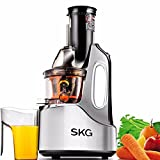 SKG Wide Chute Slow Masticating Juicer (240W AC Motor, 60 RPMs, 3″ Big Mouth), Cold Press Anti-Oxidation High Nutrient Fruit & Vegetable Juice Extractor, Certified by ETL. (Silver) For Sale