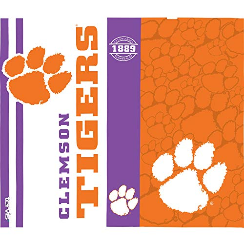 Tervis 1220293 Clemson Tigers College Pride Tumbler with Wrap and Purple Lid 24oz Water Bottle, Clear by Tervis (Image #1)