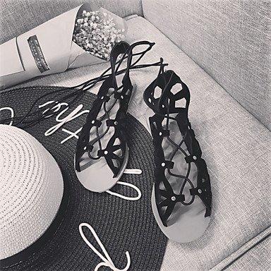 LvYuan Mujer-Tacón Plano-Confort-Sandalias-Vestido Informal-PU-Negro Plata Black