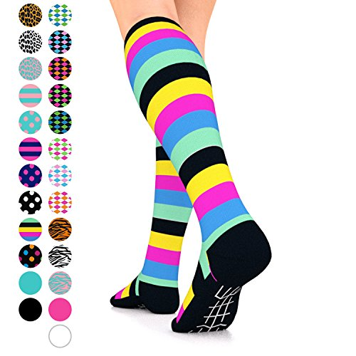 Go2Socks GO2 Compression Socks for Women Men Nurses Runners 15-20 mmHg (Medium) - Medical Stocking Maternity Travel - Best Performance Recovery Circulation Stamina (MultiStripes,L)