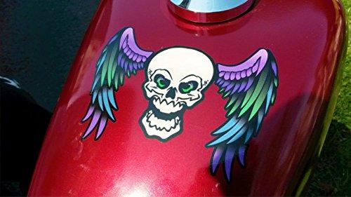 East Coast Vinyl Werkz Winged Skull decals - 6pc sticker set - For Harley Honda & all motorcycles car truck helmet laptop (Color Blacklight)