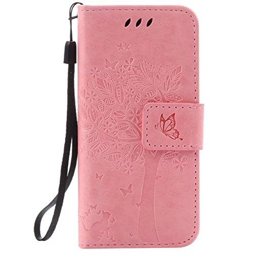 Wkae Case Cover Caja sólida de cuero de color superior de la PU del tirón del patrón de grabación en relieve del soporte de la cubierta del caso con la tarjeta y ranuras en efectivo para Apple iPod to Pink