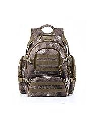 YAKEDA® Outdoor mountaineering bag camouflage bag men and women shoulder bag large capacity bag waterproof Tactical Backpack Outdoor Military Rucksacks 60L--08 (desert camouflage)