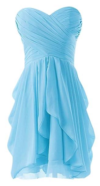 Drasawee sin tirantes gasa corto noche Prom Vestido de fiesta Junior Homecoming fiesta turquesa azul 36