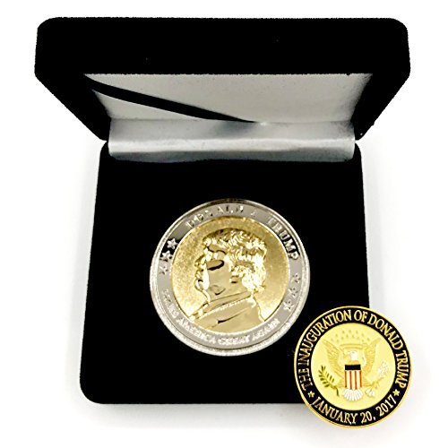 "- Trump Coin, 58th Presidential Inauguration of Donald J. Trump Challenge Coin by AIIZ Collectibles, 1.75"" Diameter in Shinny 24K Gold & 925 Silver Plating, packaged in Black Velvet Case"