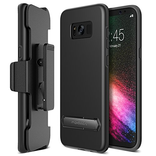 Galaxy S8 Case, Maxboost Duraslim Protective Slim Case w/ Kickstand & Holster Galaxy S8 (5.8″) Dual-Layered Shock Absorbing Case and Rotating Belt Clip and Kickstand Samsung Galaxy S8 (Black)