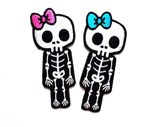 Nipitshop Patches Pack of 2 Skull Skeleton Pink Bow Blue Bow Goth Punk Emo Horror Biker Tattoo Embroidered Applique Iron-on Patch Motorcycles Rider Lady Biker Jacket T Shirt Patch ()