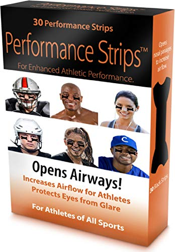 Eye Black Performance Strips for Enhanced Athletic Performance -30 ea. Opens Nasal Passages to Increase Airflow For Athletes, Protects Eyes From Glare , Boosts Stamina, All Natural, Hypoallergenic
