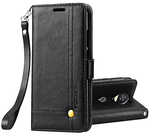 Retro Id Credit Card - Ferlinso Moto Z2 Play Case, Elegant Retro Leather with ID Credit Card Slot Holder Flip Cover Stand Magnetic Closure Case for Moto Z2 Play-Black