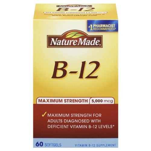 Nature Made Maximum Strength Vitamin B-12 Soft gel, 5000 mcg 60 Count (Pack of 2)