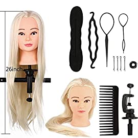 Training head model, Head Hairdressing Practice Training Head Natural Hair Practices Training Cosmetology Doll + Braid…