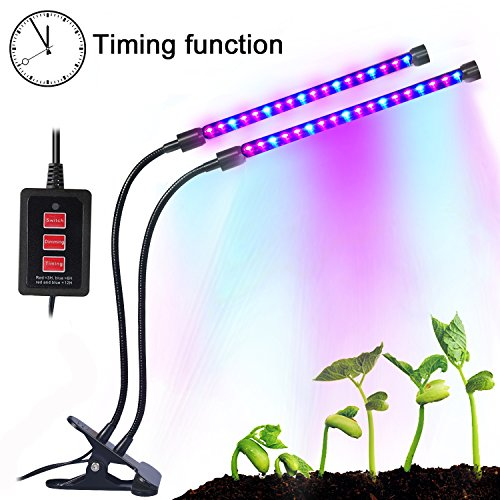 Sunlight Led (Dual lamp Grow Light Upgraded Timing Function 36 LED 4 Dimmable Levels Grow Lamp Bulbs with Adjustable 360 Degree Gooseneck for Indoor Plants Gardening Plant Growing Hydroponic Greenhouses Office)