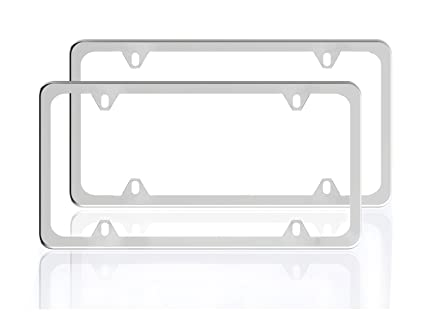 Amazon.com: ZATAYE Stainless Steel License Plate Frame for Car Tag ...