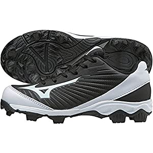 Mizuno (MIZD9) Boys' 9-Spike Advanced Franchise 9 Molded Cleat-Low Baseball Shoe, Black/White, 4 Youth US Big Kid