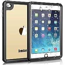 iPad Mini 4 Waterproof Case, Temdan iPad Mini 4 Waterproof Case with Adjustable Tablet Stand Built-in Screen Protector Rugged Waterproof Shockproof Case for Apple iPad Mini 4 (7.9inch)-Black/Clear