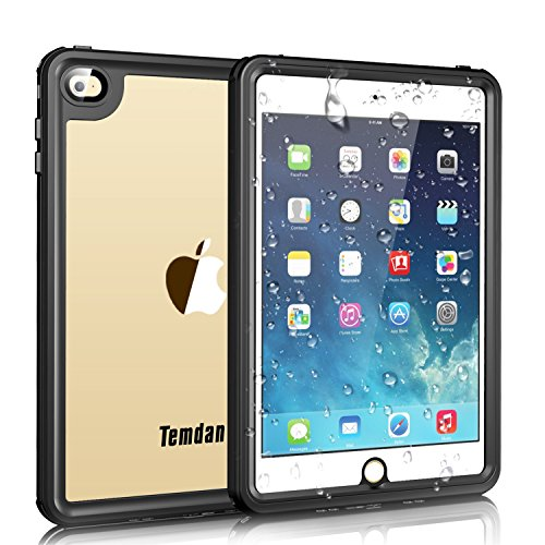 iPad Mini 4 Waterproof Case, Temdan iPad Mini 4 Waterproof Case with Adjustable Tablet Stand Built-in Screen Protector Rugged Waterproof Shockproof Case for Apple iPad Mini 4 (7.9inch)-Black/Clear